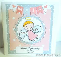 Aniołek z banerkiem dla dziewczynki