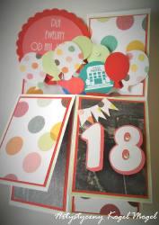 Pudełko w kartce- Balony na 18 urodziny